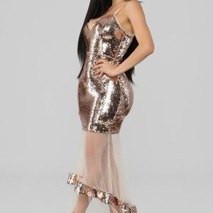 Dipped in Gold Mermaid Sequin Dress